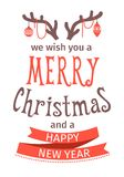 Greeting Card. Merry Christmas lettering. Vector illustration. isolated object Stock Photography