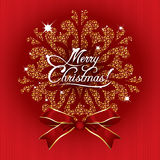 Greeting Card Merry Christmas on a red background. With gold snowflakes Stock Photography