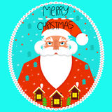 Greeting card merry Christmas. Santa Claus. Greeting card merry Christmas. Santa Claus, flat style, vector Royalty Free Stock Images
