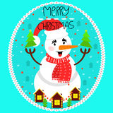 Greeting card merry Christmas. Snowman in Christmas cap and scar. Greeting card merry Christmas. Cheerful snowman in Christmas cap and scarf. Flat style, vector Royalty Free Stock Photos