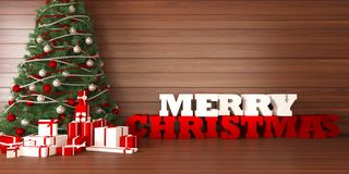 Greeting card merry christmas with christmas tree and gifts on wooden bacground. 3d render Royalty Free Stock Image