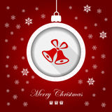 Greeting card, Merry Christmas. Xmas greeting card with Christmas ball from red background Royalty Free Stock Photos