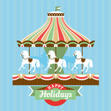 Greeting card with merry-go-round. Vector illustration Stock Photos