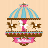 Greeting card with merry-go-round. Vector illustration Stock Image