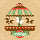 Greeting card with merry-go-round. Vector illustration Stock Photography