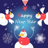 Greeting card with merry snowmen on blue background Royalty Free Stock Photography