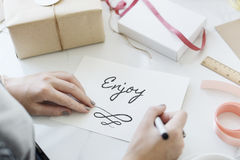 Greeting Card Message Enjoy Concept Stock Photos