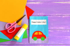Greeting card with message Happy father's day. Father's day crafts cards ideas suitable for preschool, kindergarten. Fathers day card. Happy fathers day. Fathers royalty free stock photography