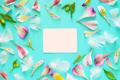 Greeting card mock-up. Romantic floral card concept, flat lay, space for a text Stock Images