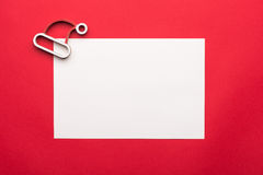 Greeting card mock up template with Christmas decorations on wooden background. View from above.  Stock Photo