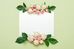Greeting card mockup empty paper roses arrangement royalty free stock images