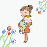 Greeting card with mom and baby Stock Photo