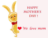 Greeting card for mom with cute animals, made of vegetable  and Stock Images
