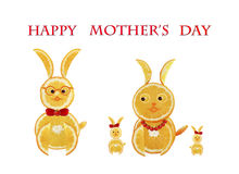 Greeting card for mom with cute animals, made of vegetable  and Royalty Free Stock Image