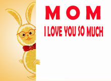 Greeting card for mom with cute animals, made of vegetable  and Royalty Free Stock Photo