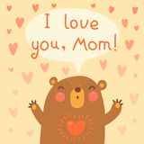 Greeting card for mom with cute bear. Royalty Free Stock Photo
