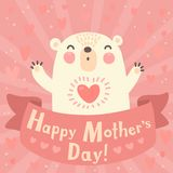 Greeting card for mom with cute bear. Stock Photography