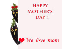 Greeting card for mom with cute eggplants Stock Photos