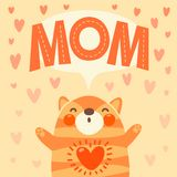Greeting card for mom with cute kitten. Royalty Free Stock Photos