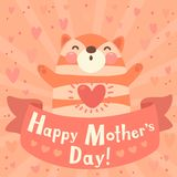 Greeting card for mom with cute kitten. Royalty Free Stock Image