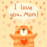 Greeting card for mom with cute kitten. Stock Image