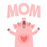 Greeting card for mom with cute piglet. Sweet pig congratulates mother Royalty Free Stock Photos