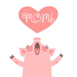 Greeting card for mom with cute piglet. Sweet pig congratulates mother. Stock Photos