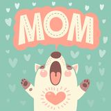 Greeting card for mom with cute puppy. Royalty Free Stock Photography