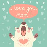 Greeting card for mom with cute puppy. Stock Photography