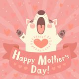 Greeting card for mom with cute puppy. Royalty Free Stock Images