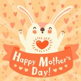 Greeting card for mom with cute rabbit. Royalty Free Stock Photo