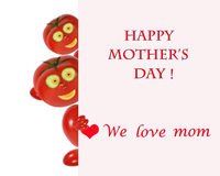 Greeting card for mom with cute tomatos Stock Photography