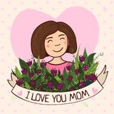 Greeting card for mom with love Stock Photography