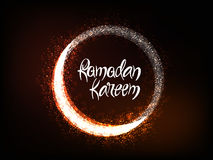 Greeting Card with Moon for Ramadan Kareem. Royalty Free Stock Photography