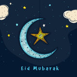 Greeting card with moon and star for Eid celebration. Royalty Free Stock Images