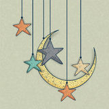 Greeting card with moon and star for Eid celebration. Stock Photo