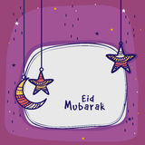 Greeting card with moon and star for Eid celebration. Stock Photos