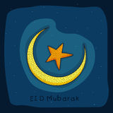 Greeting card with moon and star for Eid celebration. Royalty Free Stock Image