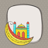 Greeting card with mosque and moon for Eid celebration. Royalty Free Stock Photos