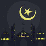 Greeting card with mosque, moon and star for Eid. Royalty Free Stock Photo