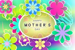 Greeting Card Mother's Day. Beautiful Template with Paper Flowers and Decorative Letters for Design Stock Vector Illustration Stock Photos