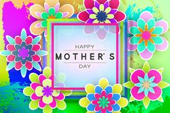 Greeting Card  for Mother's Day. Greeting Card with Paper Flowers and Decorative Letters for Mother's Day Beautiful Template Design Stock Vector Illustration Royalty Free Stock Images