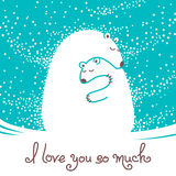 Greeting card with mother bear hugging her baby. Stock Photography