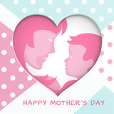 Greeting card for mother`s day with cut out paper heart with mother and her baby stylized pink silhouettes on dotted background. Greeting card for mother`s day stock illustration