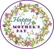 Greeting card with Mother`s day with floral elements. Vector illustration. Stock Photos