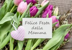 Greeting card for Mother`s Day. Greeting card to Mother`s Day with pink and violet tulips, heart and Italian text: Happy Mother`s Day Royalty Free Stock Image