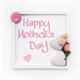 Greeting card for mother's day with white hearts and pink daisy Stock Photos