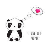Greeting card for Mothers Day, birthday. Little cute panda with pink heart. Hand drawn illustration for your design. Doodles, sketch. Vector Royalty Free Stock Photography