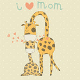 Greeting Card for Mothers Day with cute giraffes Stock Photo