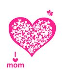 Greeting card for mothers day with paper heart Royalty Free Stock Photo
